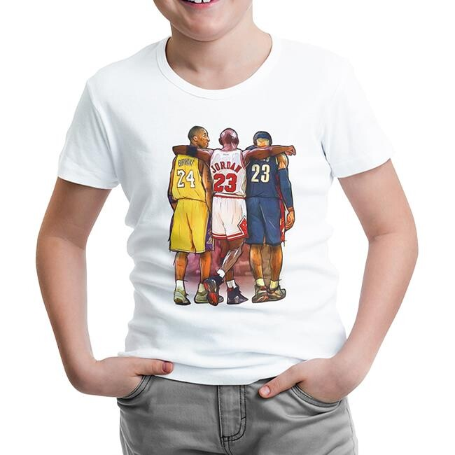 Lord Tshirt - Basketball - Jordan & James & Bryant Beyaz Çocuk Tshirt