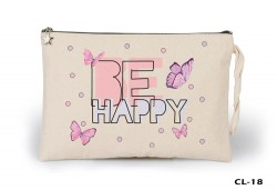 Lord Tshirt - Be Happy Butterflies Ham Bez Clutch / El Çantası Astarlı