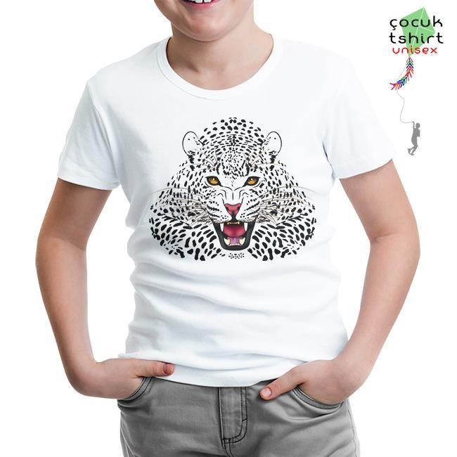 Lord Tshirt - Beyaz Leopar Beyaz Çocuk Tshirt