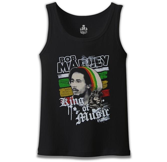 Lord Tshirt - Bob Marley - King of Music Siyah Erkek Atlet