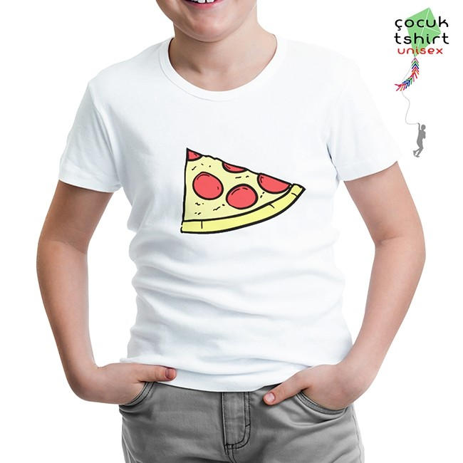 Lord Tshirt - Dilim Pizza Beyaz Çocuk Tshirt