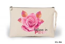 Lord Tshirt - Flowers - Pink Ham Bez Clutch / El Çantası Astarlı