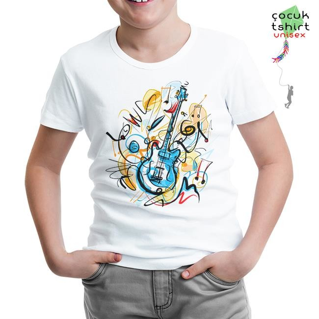 Lord Tshirt - Gitar - Kandinsky Beyaz Çocuk Tshirt