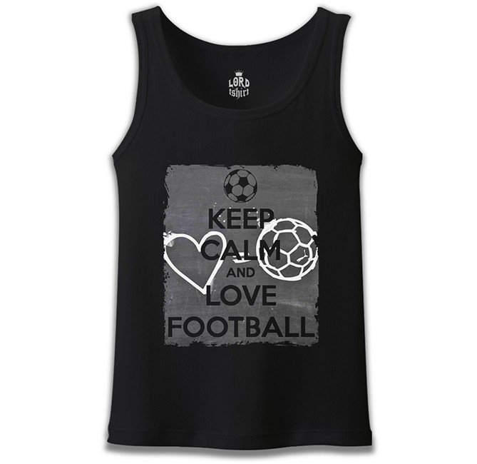 Lord Tshirt - Keep Calm and Love Football Siyah Erkek Atlet