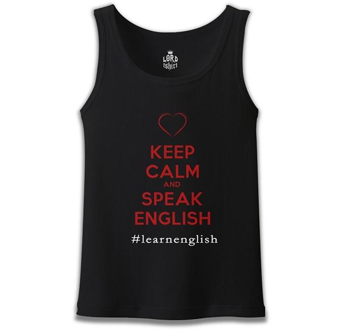 Lord Tshirt - Keep Calm and Speak English Siyah Erkek Atlet