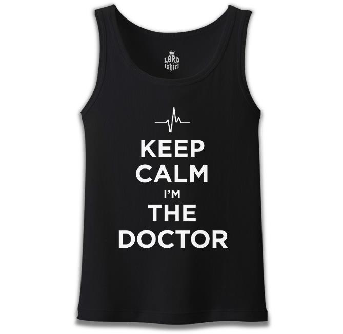 Lord Tshirt - Keep Calm i am the Doctor Siyah Erkek Atlet
