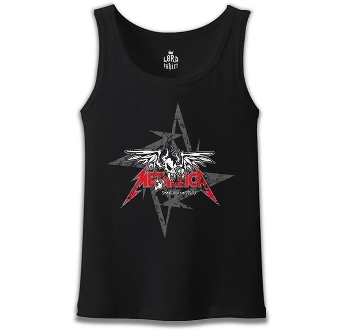 Lord Tshirt - Metallica - Seek and Destroy Logo Siyah Erkek Atlet