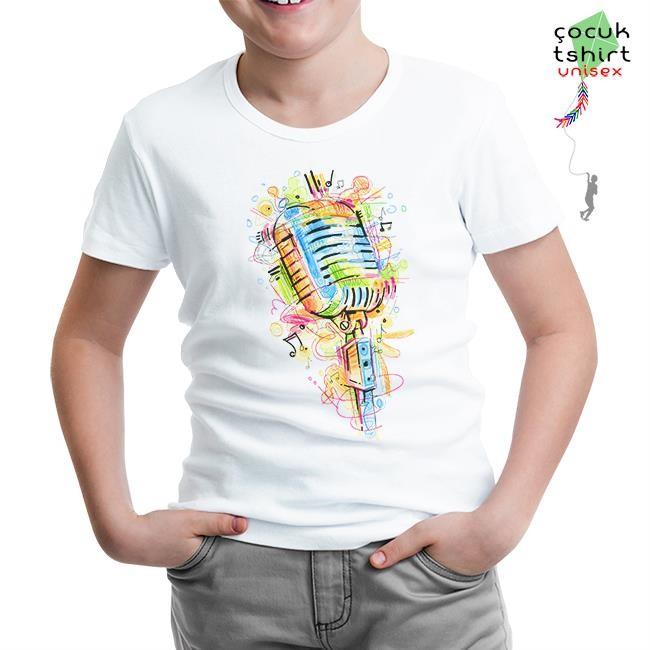 Lord Tshirt - Mikrofon - Notalar Beyaz Çocuk Tshirt
