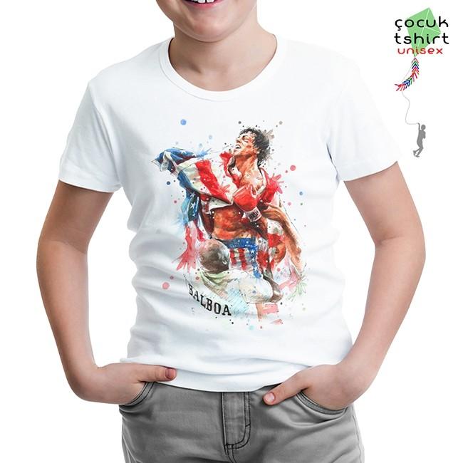 Lord Tshirt - Rocky Balboa - Bayrak Beyaz Çocuk Tshirt