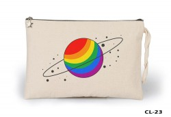 Lord Tshirt - Space - Saturn Colors Ham Bez Clutch / El Çantası Astarlı