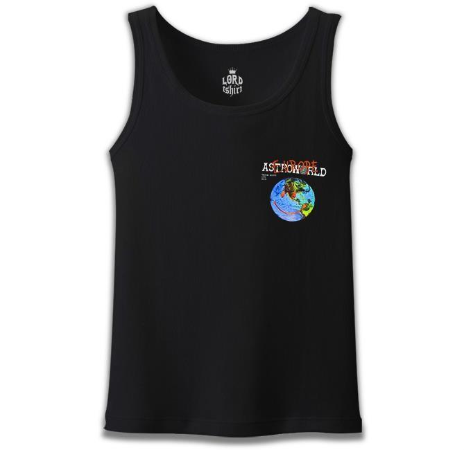 Lord Tshirt - Travis Scott - Astro World Logo Siyah Erkek Atlet