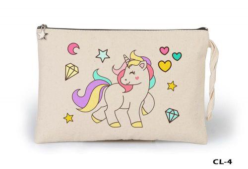 Unicorn - Diamond Heart Ham Bez Clutch / El Çantası Astarlı