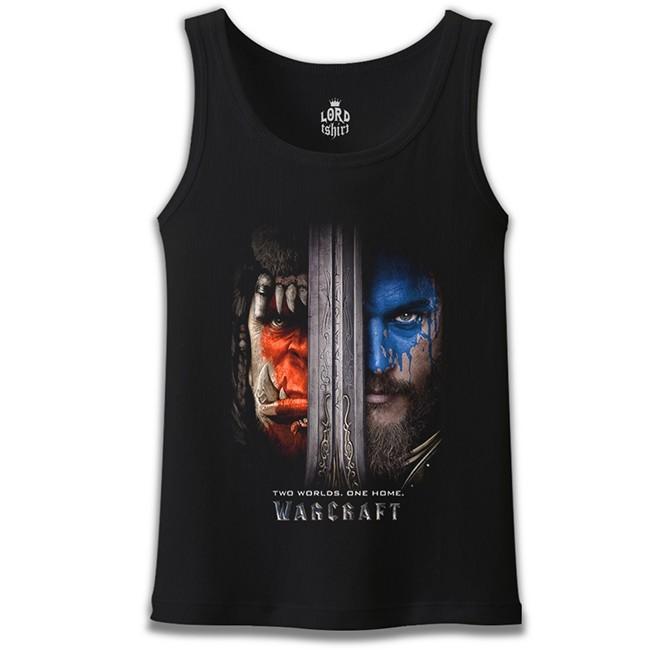 Lord Tshirt - Warcraft - Two Worlds One Home Siyah Erkek Atlet