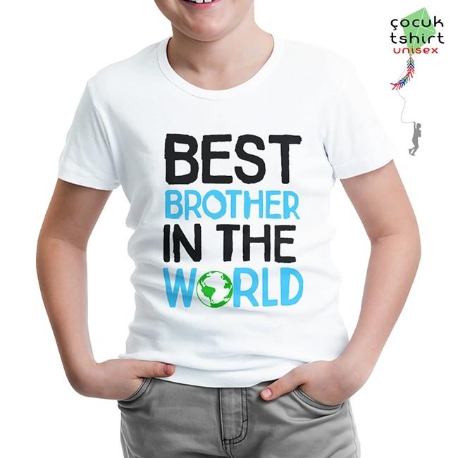 Lord Tshirt - Yazı - Best Brother in the World Beyaz Çocuk Tshirt