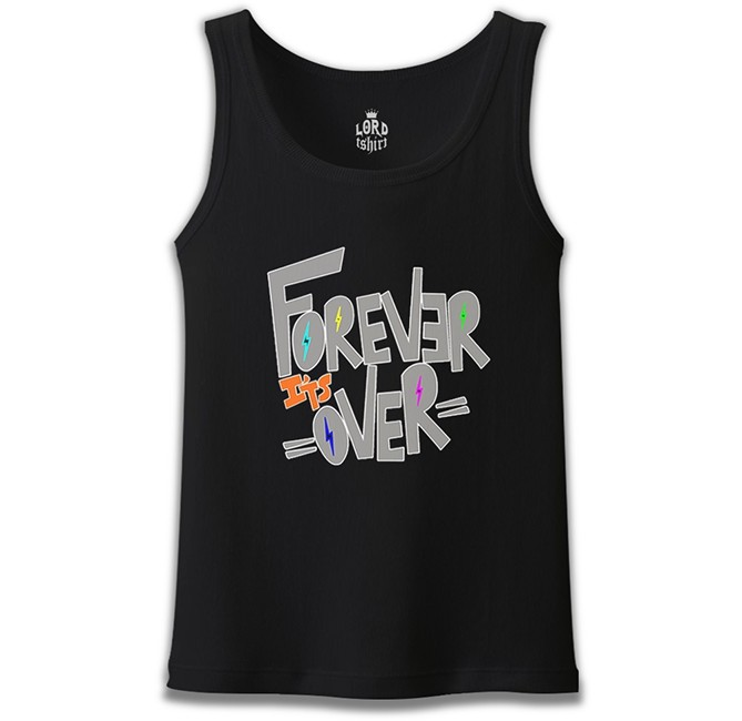 Lord Tshirt - Yazı - Forever it's Over Siyah Erkek Atlet